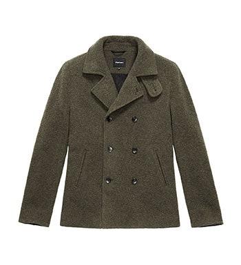 Technical, machine washable, wool-blend pea-coat.