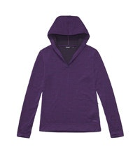 Soft, merino-blend hooded travel top.