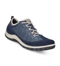 Low-cut, waterproof, nubuck walking shoe.