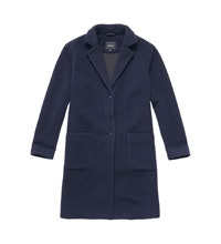 Warm, longer-length wool-blend coat.