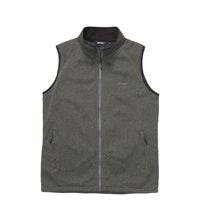 Technical fleece vest with wind resistant front panel.