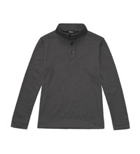 Mid-weight fleece jumper with buttoned neck opening.