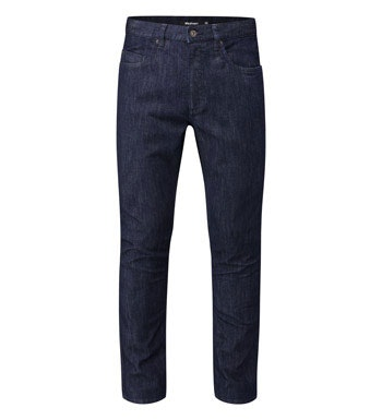 Slim-fitting technical travel jeans.