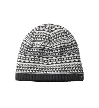 Fleece lined knit-effect Nordic print hat.