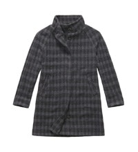 Technical, machine washable, wool-blend coat.