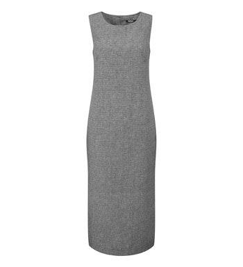 Linen-blend, crease resistant travel dress.