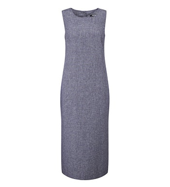 Linen-blend, crease resistant travel dress.