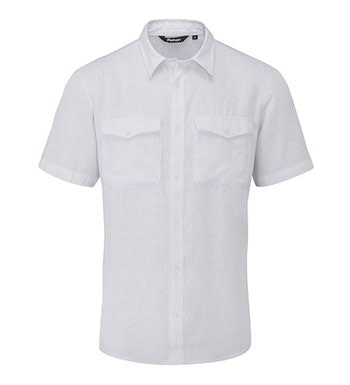 Casual, comfortable, technical linen-blend shirt.
