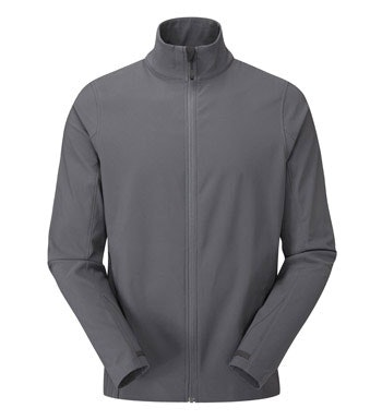 Warm, water-repellent stretch jacket for active outdoor use.