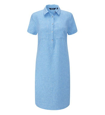 Relaxed fit linen-blend shirt dress.