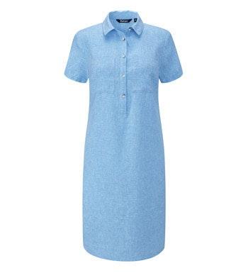 Relaxed fit linen-blend shirt dress.