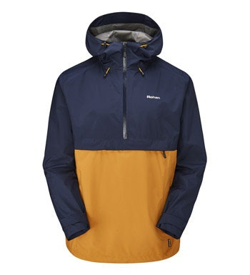 Waterproof, breathable hooded jacket.