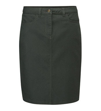 Stretchy, flattering, technical denim skirt.